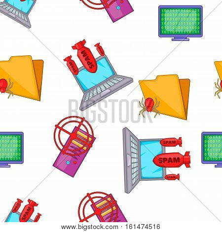 Computer security pattern. Cartoon illustration of computer security vector pattern for web