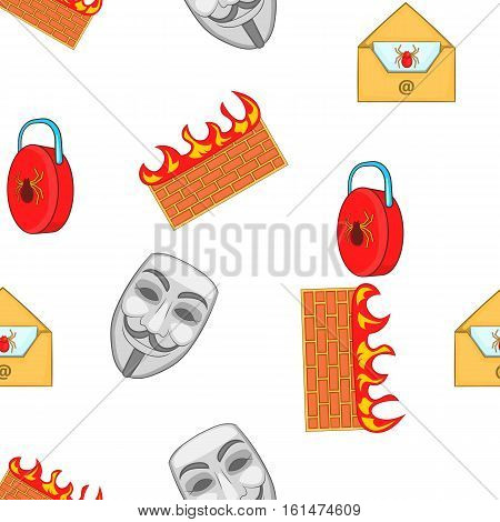 Cyber crime pattern. Cartoon illustration of cyber crime vector pattern for web