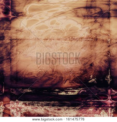 Grunge retro texture, aged background with vintage style elements and different color patterns: yellow (beige); brown; purple (violet); black; pink