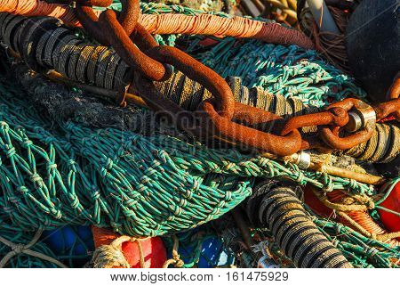Bunch of chains and fish trawl closeup