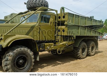 Tyumen, Russia - June 11, 2016: Race of Heroes project on the ground of the highest military and engineering school. Truck with mechanized bridge TMM-3