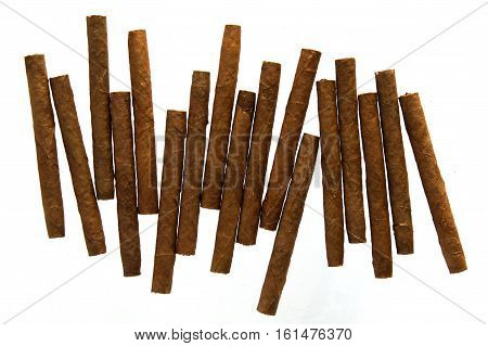 Photo shows cigarillos isolated on white background