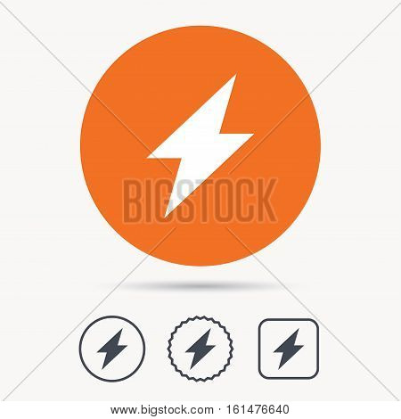 Lightning icon. Electricity energy power symbol. Orange circle button with web icon. Star and square design. Vector