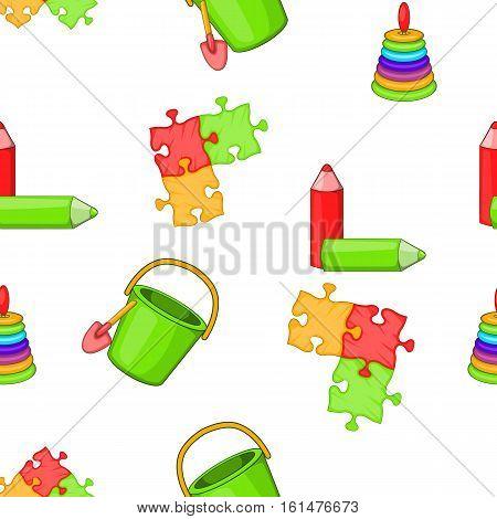 Childrens toys pattern. Cartoon illustration of childrens toys vector pattern for web