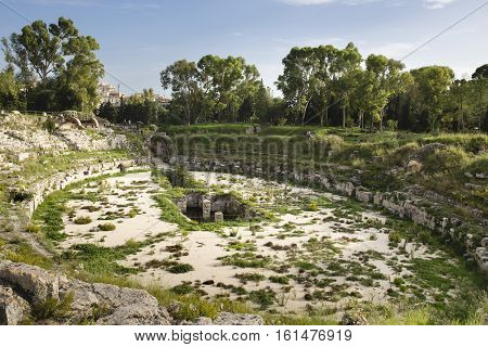 Ruins of old Roman theater  in Siracusa