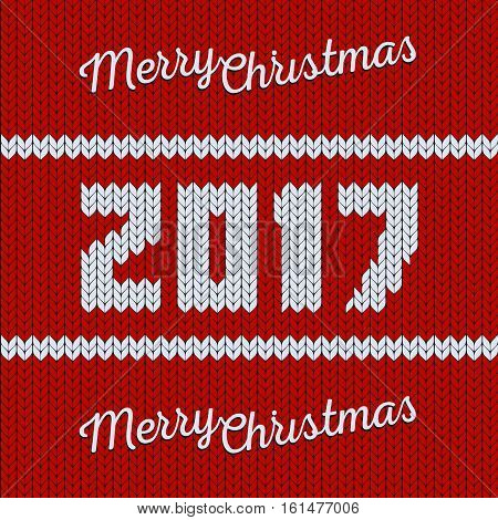 Isolated abstract red and white color knitted merry christmas greeting card. New year 2017 background. Xmas knitwear backdrop. Seamless texture. Vector sweater illustration
