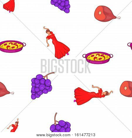 Spain attractions pattern. Cartoon illustration of Spain attractions vector pattern for web