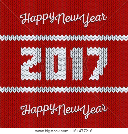 Isolated abstract red and white color knitted happy new year greeting card. Merry christmas 2017 background. Xmas knitwear backdrop. Seamless texture. Vector sweater illustration