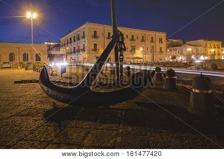Canal Of Syracusa (syracuse) At Night- Sicily, Italy