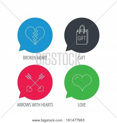 Colored speech bubbles. Love heart, gift box and arrows icons. Broken heart or divorce linear signs. Flat web buttons with linear icons. Vector