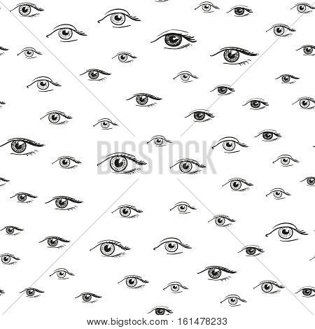 Eyes pattern. Seamless hand drawn background for fashion fabric, psychedelic wallpaper, furniture textile. Unusual design. Black white vector illustration.
