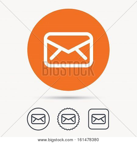 Envelope icon. Send email message sign. Internet mailing symbol. Orange circle button with web icon. Star and square design. Vector