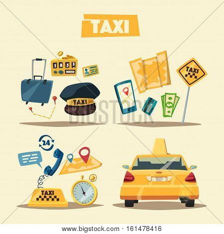 Taxi service. Cartoon vector illustration. Order and payment. Public auto transport banner. Landing and trip. Car in the city