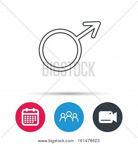Male icon. Gentlemen sexuality sign. Group of people, video cam and calendar icons. Vector
