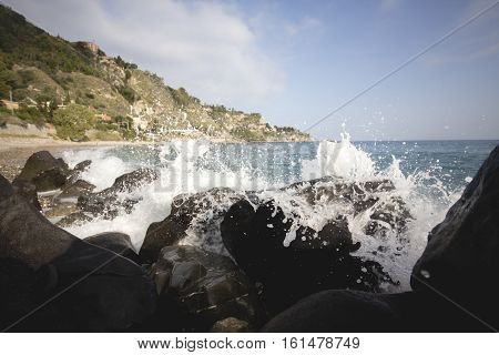 Deep Blue Sea Waves Splashing Volcanic Rocks, Sicily Coast