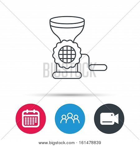 Meat grinder icon. Manual mincer sign. Kitchen tool symbol. Group of people, video cam and calendar icons. Vector