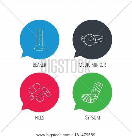 Colored speech bubbles. Gypsum, lab beaker and medical pills icons. Medical mirror linear sign. Flat web buttons with linear icons. Vector