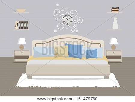 Bedroom in a blue color. There is a bed with pillows, bedside tables, lamps and other objects in the picture. There is also big round clock on the wall. Vector flat illustration