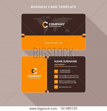 Creative And Clean Double-sided Business Card Template. Orange And Brown Colors. Flat Design Vector
