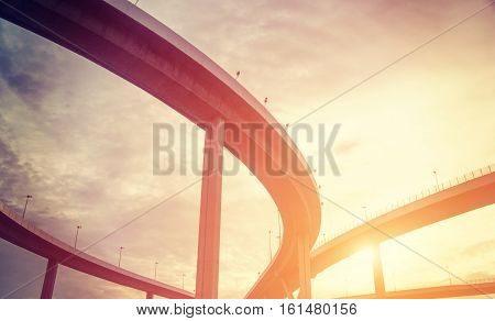 urban overpass with sunlight retro effect image and copy space for your text