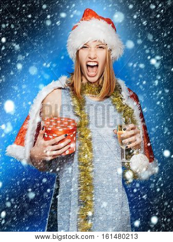 Angry Girl With Champagne Glass