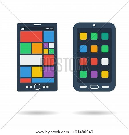 Vector flat two smart phones icons with different colored tiles on the screen isolated on white