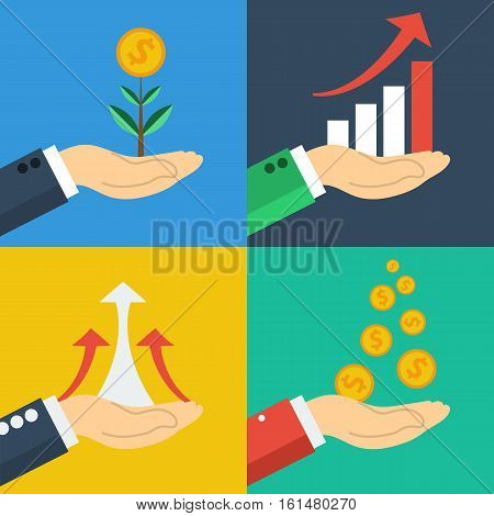 Four vector financial business growth concepts. Rising graph on hand, falling profits coins, money tree. All on different colored square background