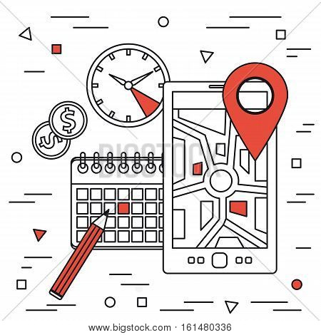 Vector square line art concept of monitoring freight transport. Tracking of cargo during shipping. Smartphone with location place of load, clock, calendar and money coins on white background