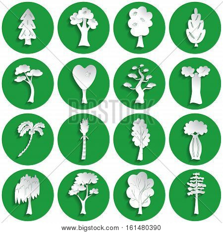 Set of different tree icons in paper style