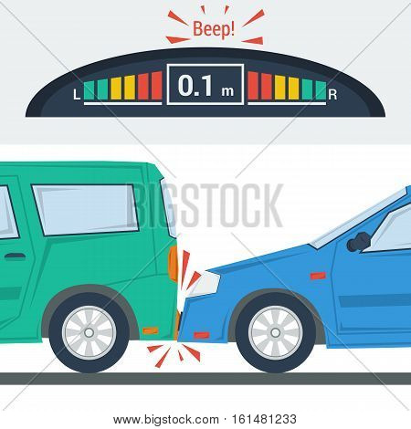 Vector flat illustration of two cars in accident. Green and blue automobile in flat style and control panel with colored indicators. Concept bad driving or traffic situations and self parking machine