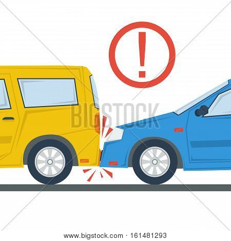 Vector illustration of two cars in accident. Yellow and blue automobile in flat style and red exclamation mark. Concept bad driving or traffic, road situations