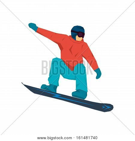Vector illustration snowboarder jumping isolated on white in red jacket and helmet. Clipart for winter sports advertising in flat style