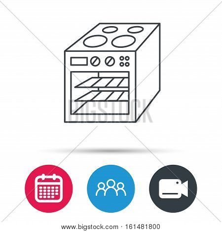 Oven icon. Electric stove sign. Group of people, video cam and calendar icons. Vector