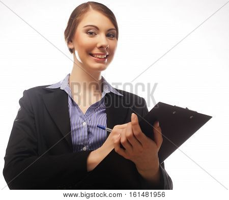 Business woman write on clipboard isolated on white