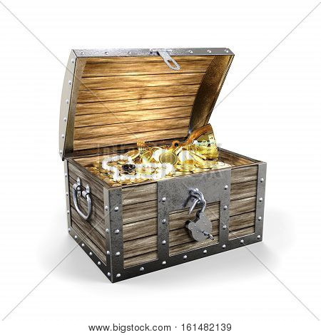 Treasure chest with treasure on white background 3D rendering