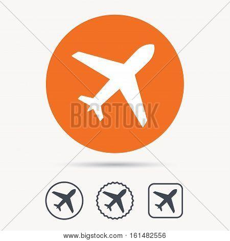 Plane icon. Flight transport symbol. Orange circle button with web icon. Star and square design. Vector