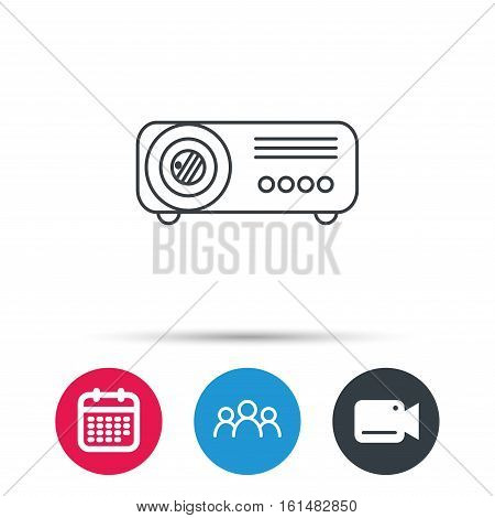 Projector icon. Video presentation device sign. Business office conference tool symbol. Group of people, video cam and calendar icons. Vector