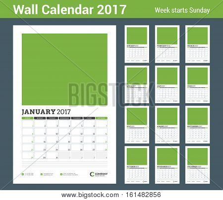 Wall Calendar Planner Template For 2017 Year. Set Of 12 Months. Vector Design Template With Abstract