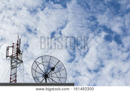 Satellite dish and Antenna with cloudy blue sky background.