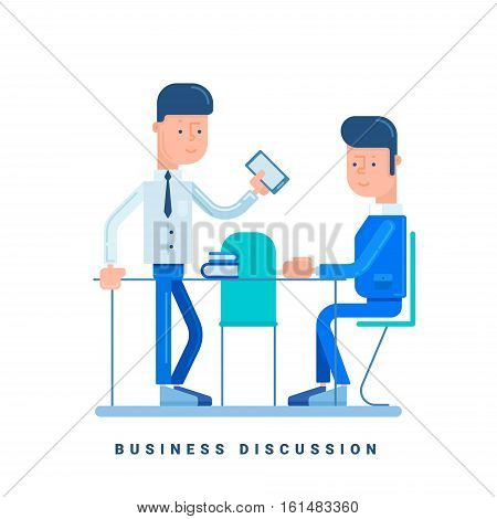 Two businessmen discussing. Business concept for discussion. Cartoon male character. Flat style vector illustration isolated on white