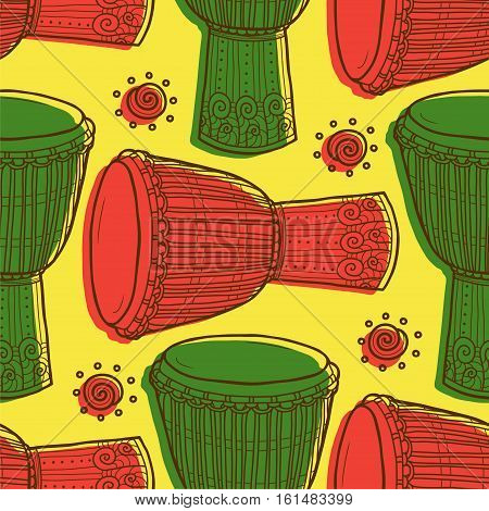 Seamless pattern with drums. Percussion musical instruments.