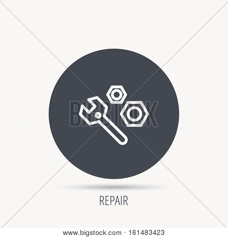 Repair icon. Spanner tool with screw-nut sign. Round web button with flat icon. Vector