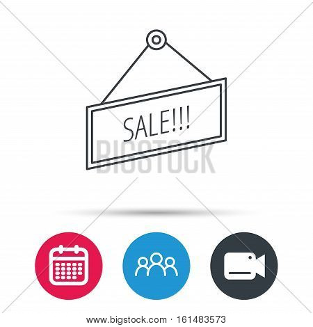 Sale icon. Advertising banner tag sign. Group of people, video cam and calendar icons. Vector
