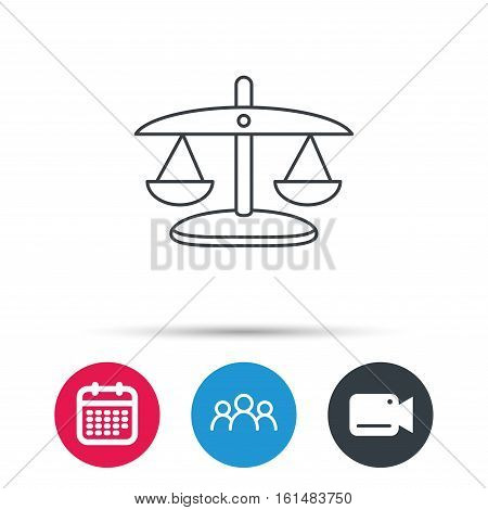 Scales of Justice icon. Law and judge sign. Measurement tool symbol. Group of people, video cam and calendar icons. Vector