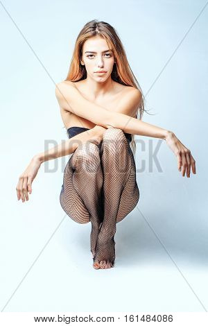 Pretty Girl In Fishnet Tights