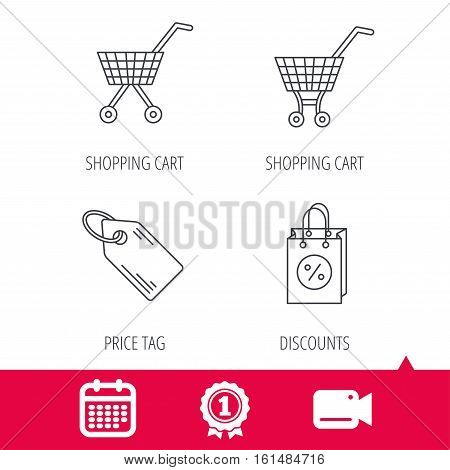 Achievement and video cam signs. Shopping cart, discounts bag and price tag icons. Sale coupon linear sign. Calendar icon. Vector