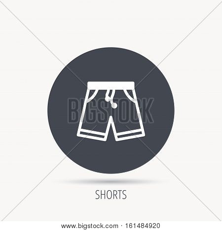 Shorts icon. Casual clothes shopping sign. Round web button with flat icon. Vector