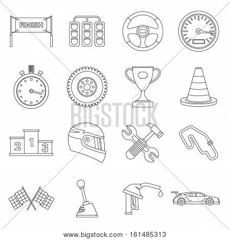 Racing speed icons set. Outline illustration of 16 racing speed vector icons for web