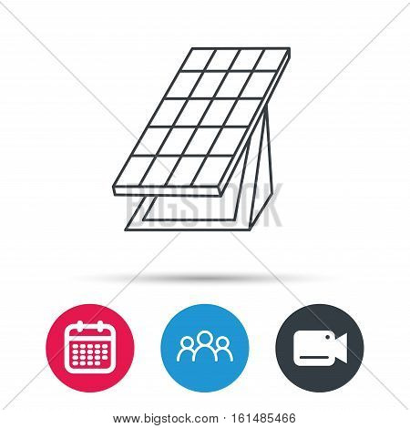 Solar collector icon. Sunlight energy generation sign. Innovation battery power symbol. Group of people, video cam and calendar icons. Vector