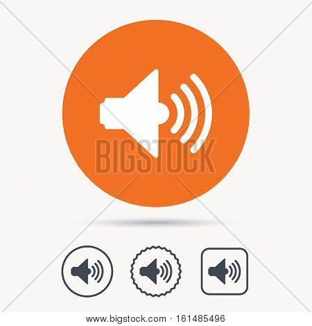 Sound icon. Music dynamic symbol. Orange circle button with web icon. Star and square design. Vector